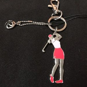 Breast Cancer Awareness Pink Ladies Golf Keychain
